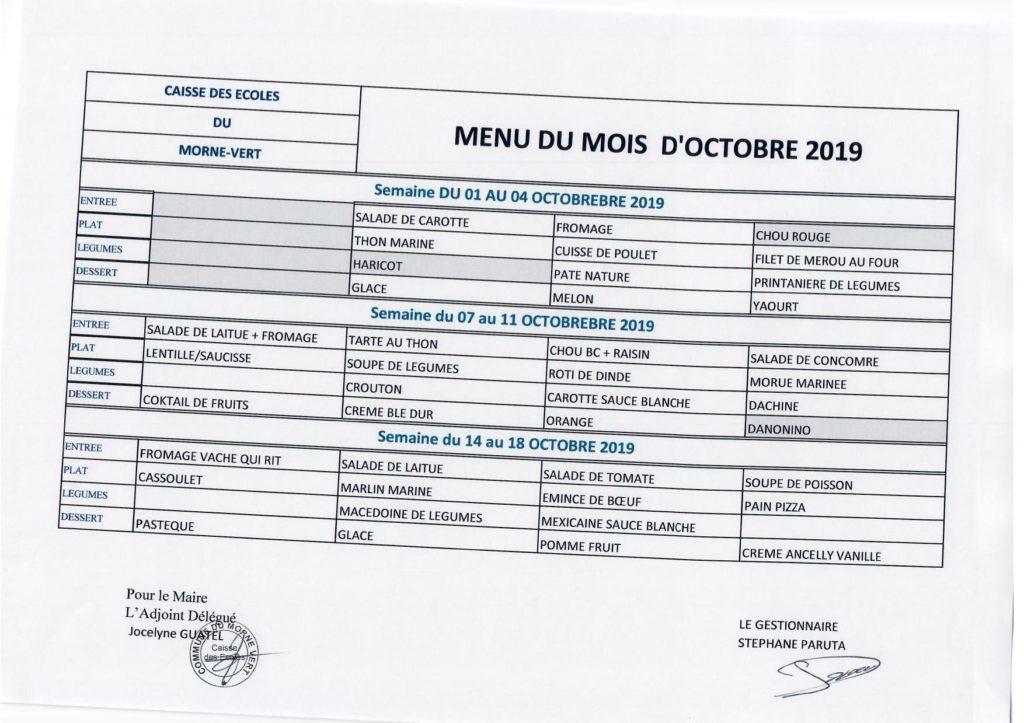 Restaurant scolaire: menu du mois d'Octobre 2019