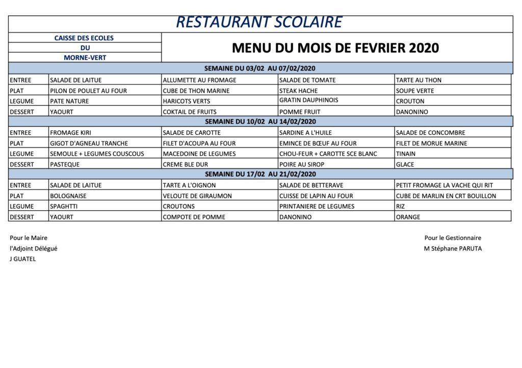 Menu de février 2020